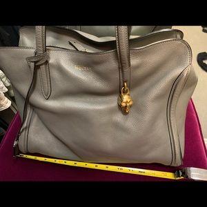 Alexander McQueen Skull Padlock Handbag Gray